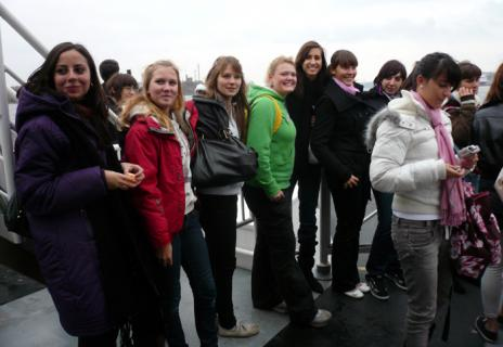 Myself and my host Agnes to the left in this photo. We and all the other students are on our way to Djurgarden.