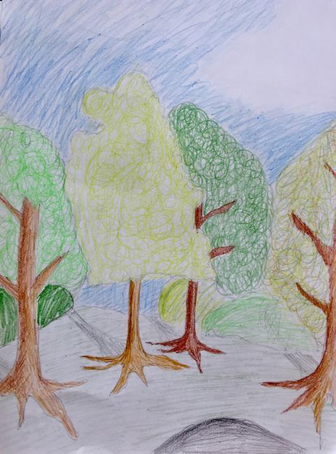 Bild av elev i 9A. Teckning av naturen