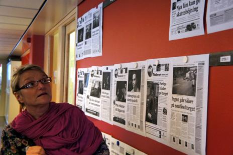 Här hängs alla färdiga tidningar upp som har gått till press.