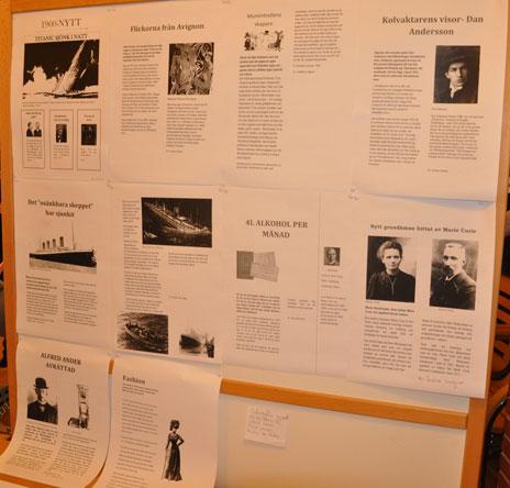 Eleverna i årskurs 7 jobbade, bland annat, med historiska nyheter.